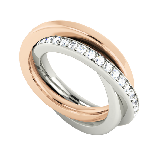 Diamond Russian Wedding Ring - 9ct Rose and White Gold
