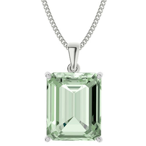 Emerald Cut Green Amethyst Sterling Silver Necklace