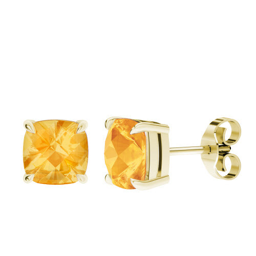 Citrine Cushion Checkerboard Stud Earrings 9ct Yellow Gold