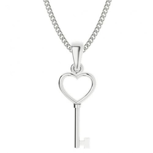 Sterling Silver Key Heart Pendant