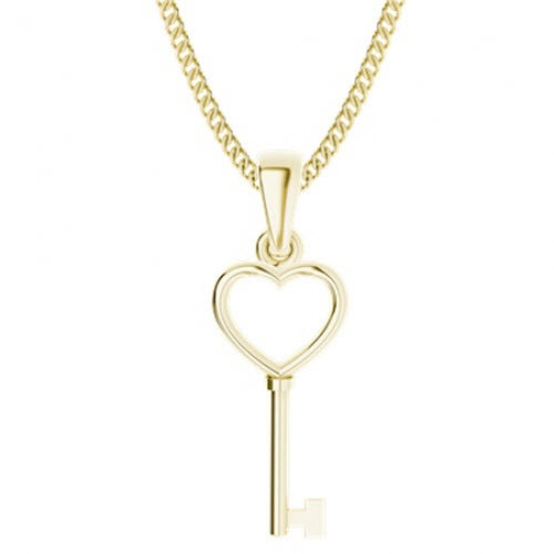 Yellow Gold-Plate Key Heart Pendant