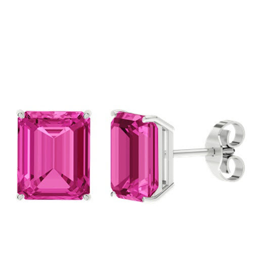 Pink Sapphire Emerald Cut Sterling Silver Stud Earrings