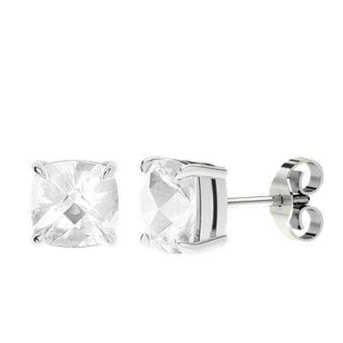White Quartz Cushion Checkerboard Silver Stud Earrings