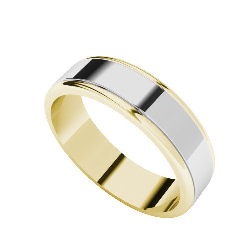 Two-Tone Wedding Ring - 9ct White Gold with Yellow Gold