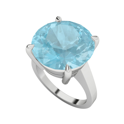 Round Brilliant Cut Blue Topaz Silver Cocktail Ring