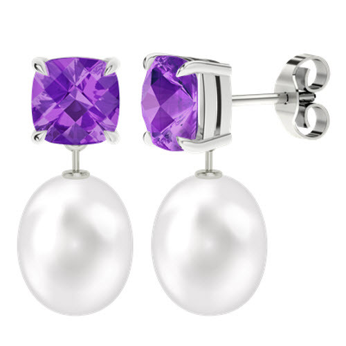 Amethyst Cushion Checkerboard Studs with Drop Pearl - 9ct White Gold