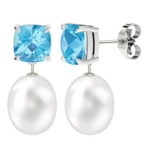 Blue Topaz Cushion Checkerboard Studs with Drop Pearl - 9ct White Gold