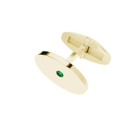 Oval 9ct Yellow Gold Cufflinks with Emerald Birthstone