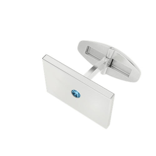 Rectangular Silver Cufflinks with Aquamarine Birthstone