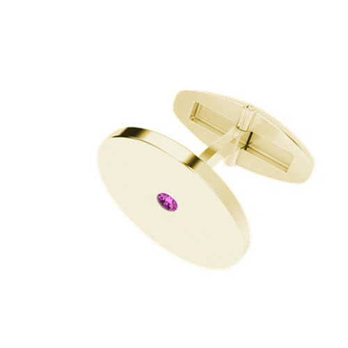 Round 9ct Yellow Gold Cufflinks with Pink Tourmaline Birthstone