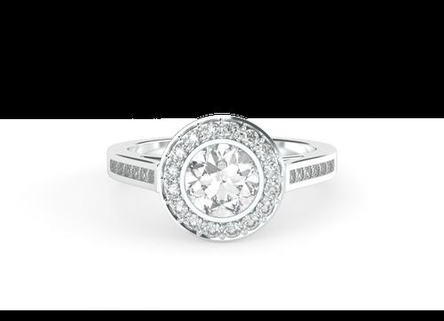 Brilliant Cut Bezel-Set Diamond Halo 14ct White Gold Engagement Ring - 'Paris'