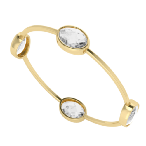 White Quartz Gemstone Bangle Yellow Gold