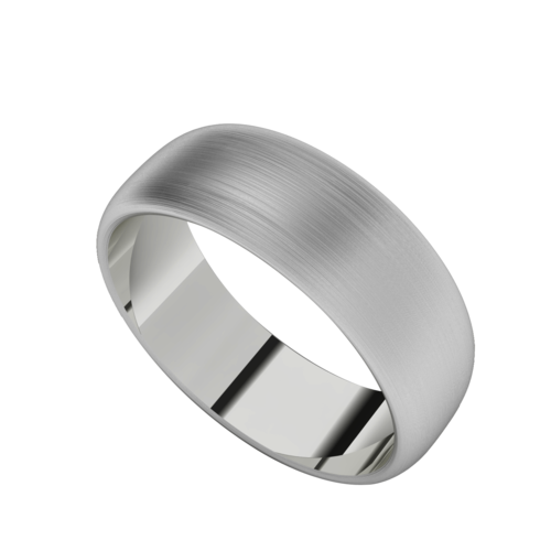 Brushed Men's Wedding Ring with Round Profile  - Platinum