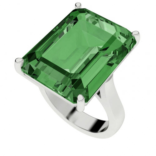 Emerald Sterling Silver Cocktail Ring