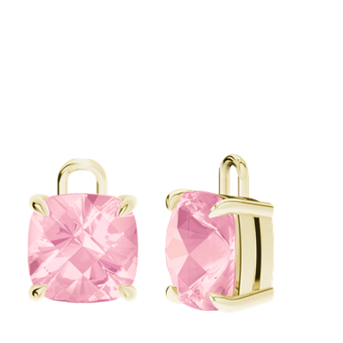 Rose Quartz 9ct Yellow Gold Checkerboard Earrings - drops only