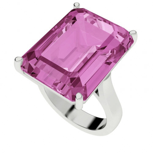 Pink Sapphire Sterling Silver Cocktail Ring