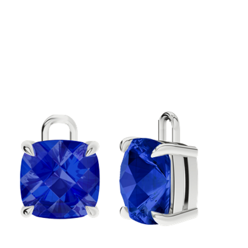Blue sapphire 9ct white gold checkerboard earrings - drops only