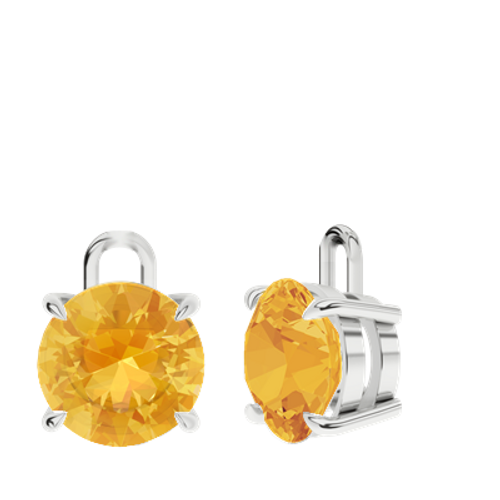 Citrine Sterling Silver Round Brilliant Earrings - Drops Only