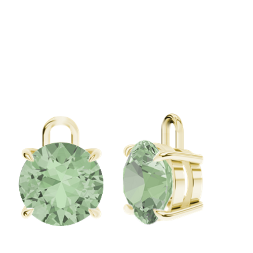 Green Amethyst 9ct Yellow Gold Round Brilliant Earrings - Drops Only