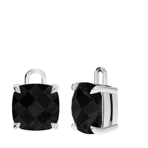 Onyx Sterling Silver Checkerboard Earrings - Drops Only