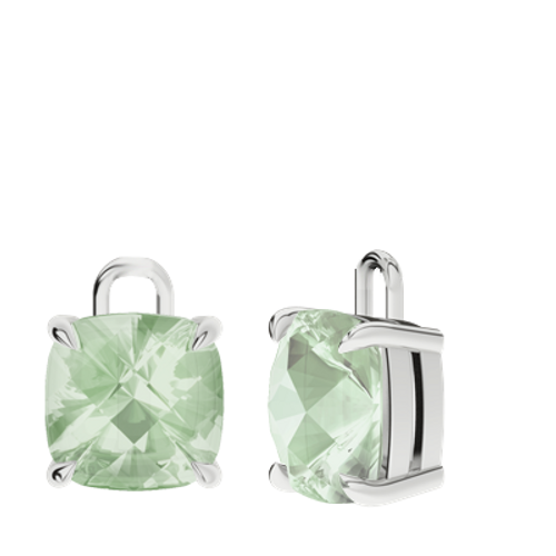 Green Amethyst Sterling Silver Checkerboard Earrings - Drops Only