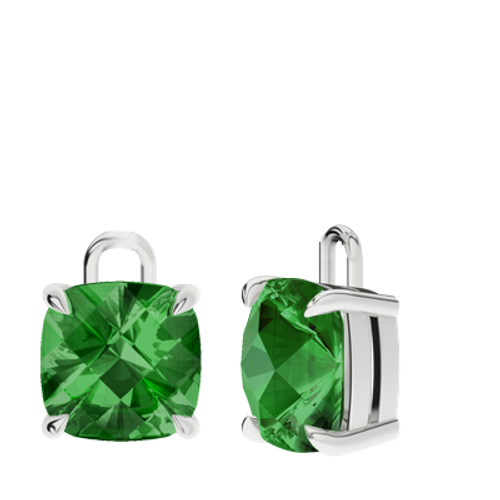 Emerald Sterling Silver Checkerboard Earrings - Drops Only