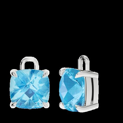 Blue Topaz Sterling Silver Checkerboard Earrings - Drops Only