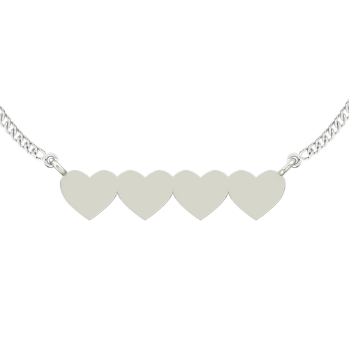 Four Joined Hearts Necklace - Sterling Silver