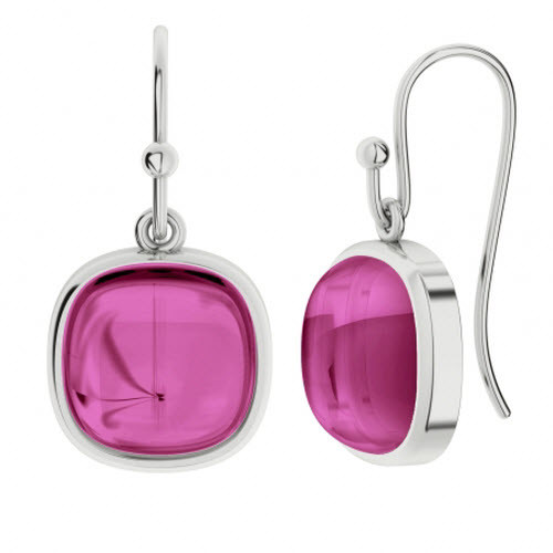 Pink Sapphire Square Gemstone Silver Earrings