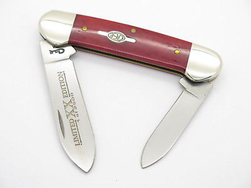 1999 CASE XX 62131 LIMITED SMOOTH RED BONE CANOE FOLDING POCKET KNIFE