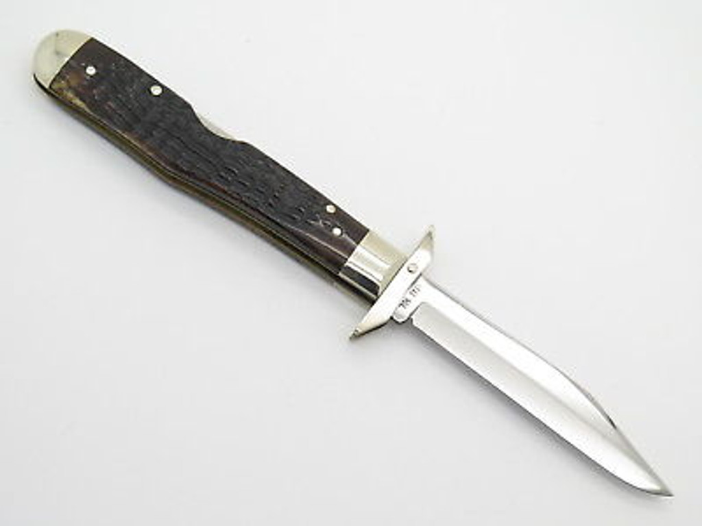 1976 VINTAGE CASE XX 6111 1/2 BONE CHEETAH SWING GUARD FOLDING POCKET KNIFE