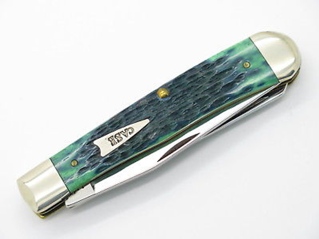 2001 LIMITED CASE XX 6254 BLUEGRASS GREEN TRAPPER FOLDING POCKET KNIFE