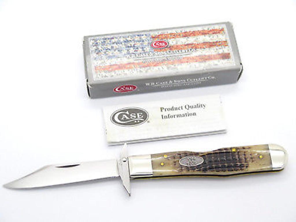 2014 CASE XX 6111 1/2 CHEETAH ROOTBEER BONE SWING GUARD FOLDING KNIFE