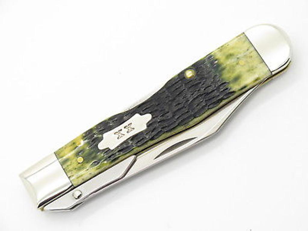 2015 CASE TESTED XX 6111 1/2 CHEETAH OLIVE BONE SWING GUARD FOLDING KNIFE