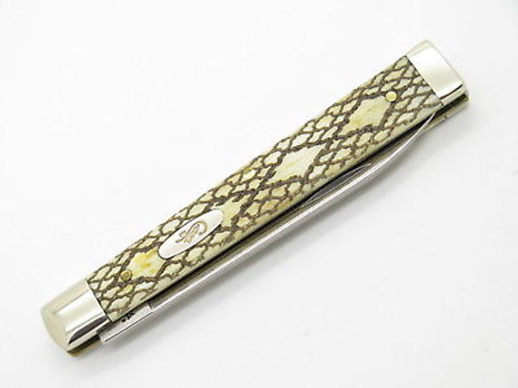 2005 CASE XX 6185 SNAKE SKIN ETCHED BONE DOCTOR FOLDING POCKET KNIFE