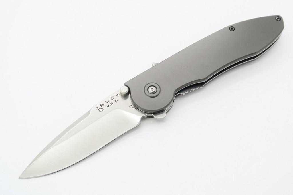 2005 IDAHO BUCK SIRUS 298 GRAY ALUMINUM ATS-34 FOLDER FOLDING POCKET KNIFE MINT