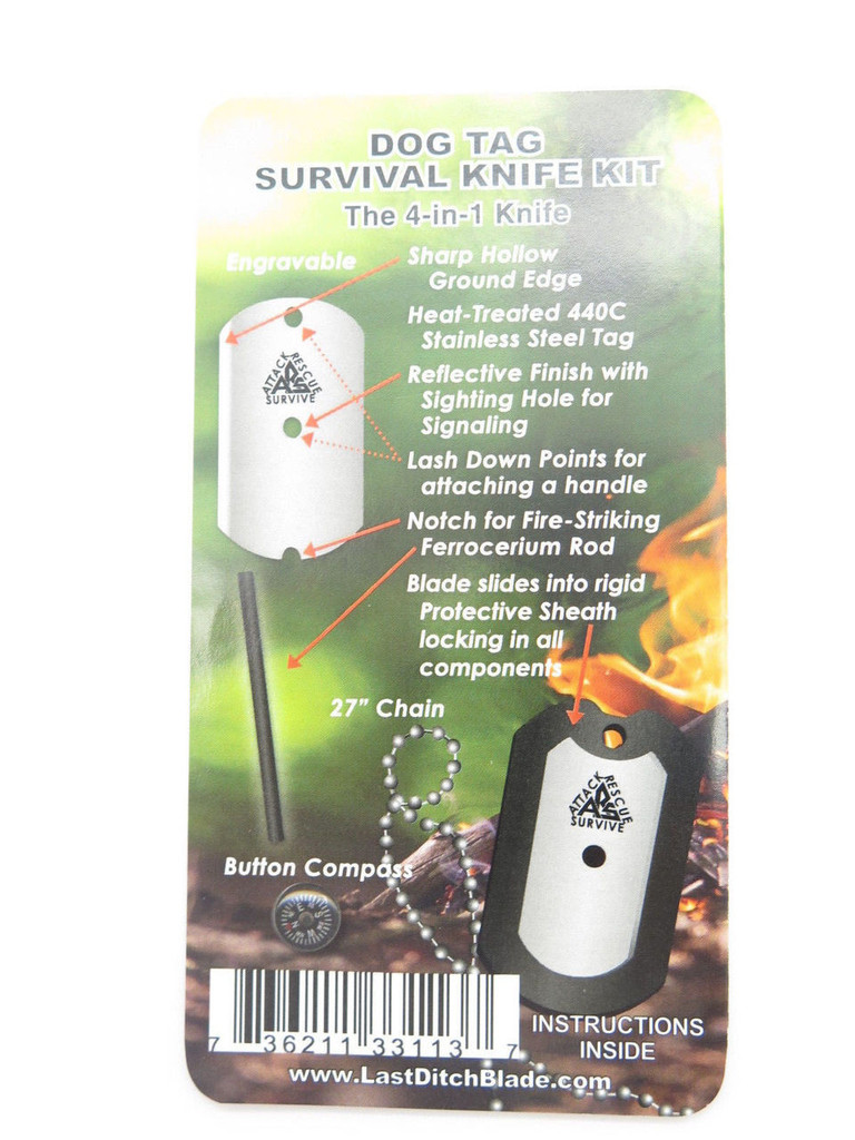 ARS ATTACK RECUE SURVIVE USA CUSTOM DOG TAG KNIFE SURVIVAL KIT COMPASS ROD BLACK