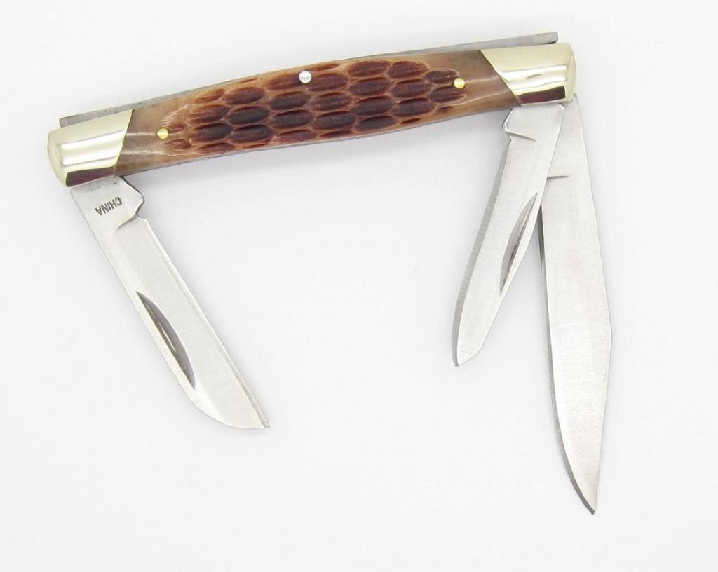 BUCK 373 TRIO 3 BLADE BONE HANDLE MEDIUM STOCKMAN CADET FOLDING POCKET KNIFE NEW