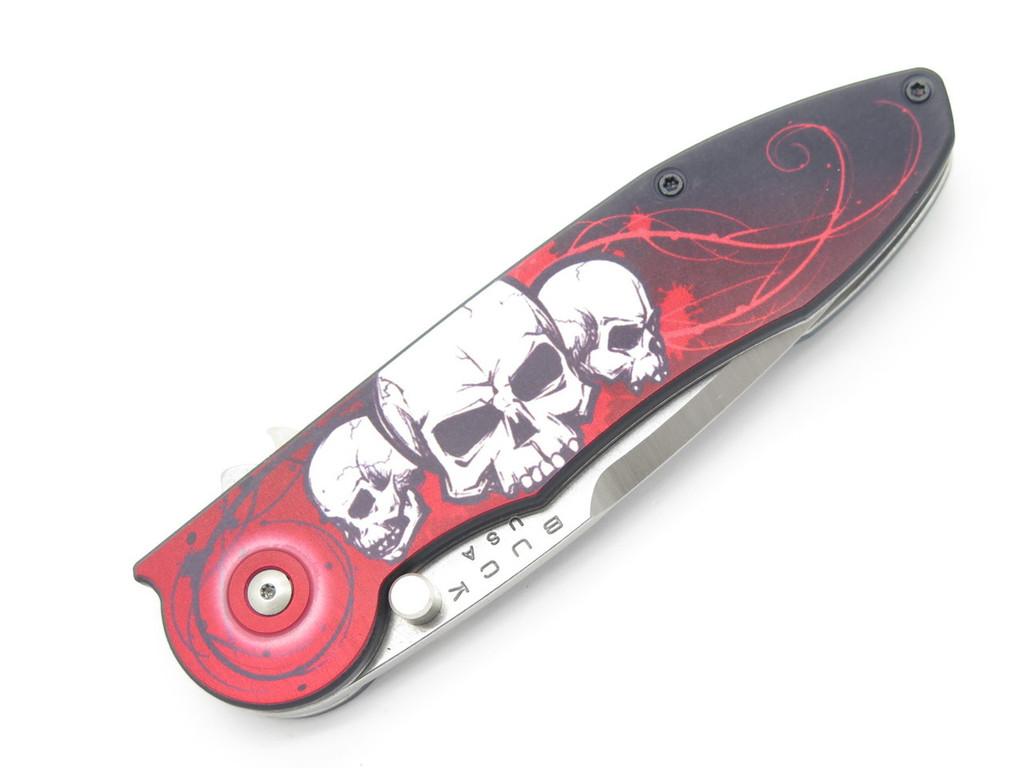 BUCK 295 295BO7 TEMPEST CUSTOM BUILDOUT RED SKULL ASSISTED FOLDING POCKET KNIFE