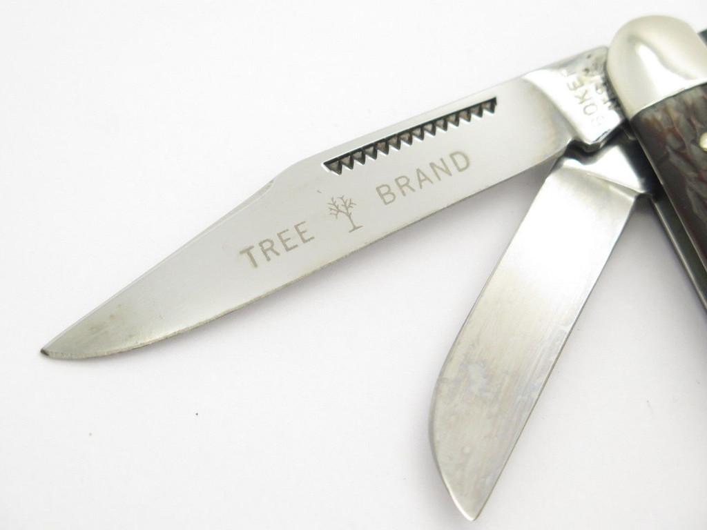VINTAGE 1970s BOKER USA TREE BRAND 8573 3 BLADE STOCKMAN FOLDING POCKET KNIFE