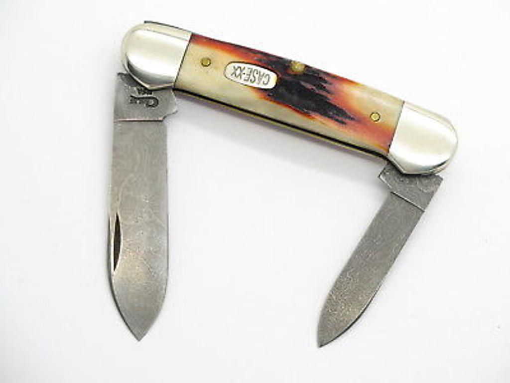 1998 CASE XX 52121 DAMASCUS RED STAG CANOE FOLDING POCKET KNIFE
