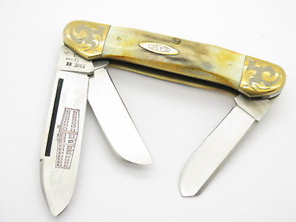 '80 CASE XX 5394 CANOE LARGE 3 BLADE STAG FOLDING POCKET KNIFE GOLD SCROLL