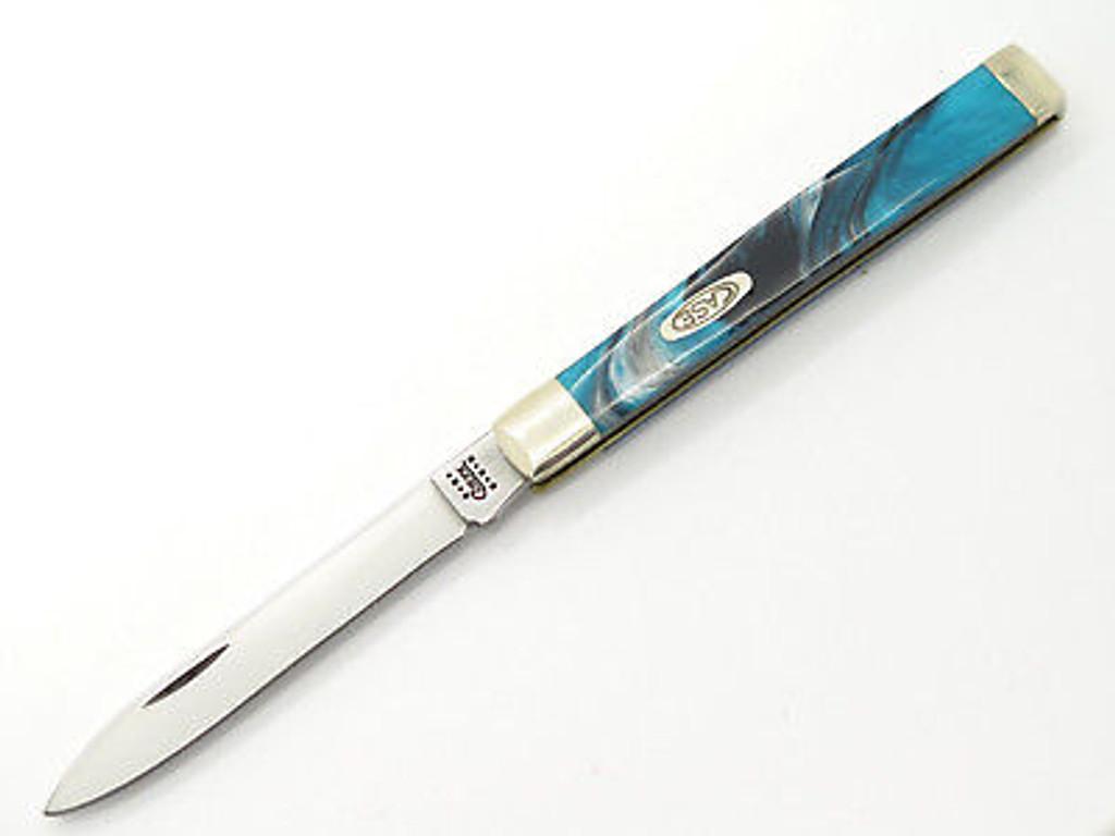 2001 CASE XX 3185 DOCTOR FOLDING POCKET KNIFE EXOTIC BLUE TURQUOISE SWIRL