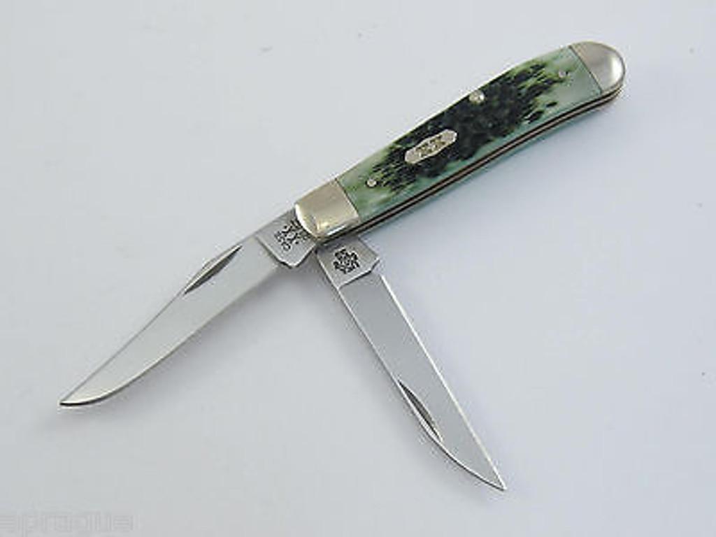 2001 CASE XX SELECT 6207 SS 02430 BERMUDA GREEN MINI TRAPPER FOLDING KNIFE