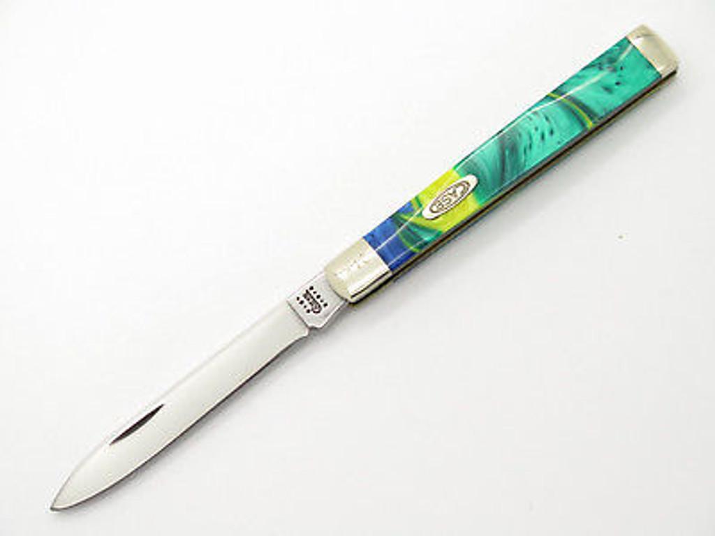 2001 CASE XX 3185 DOCTOR FOLDING POCKET KNIFE EXOTIC GREEN YELLOW SWIRL