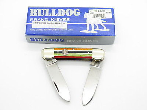 VINTAGE 1996 BULLDOG BRAND PIT BULL CANOE FOLDING POCKET KNIFE UNUSUAL STRIPE