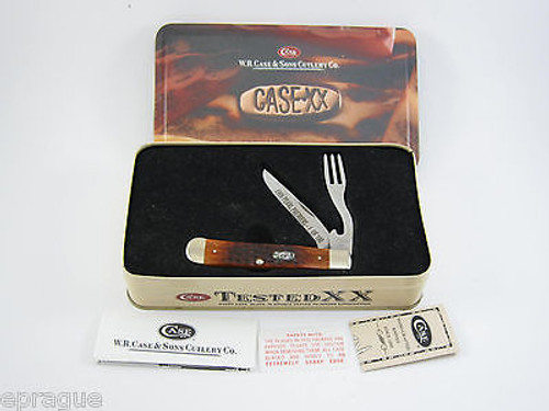 1999 CASE XX 6254 PEARL PREMIERS LIMITED 1 OF 100 BONE HOBO TRAPPER KNIFE TIN