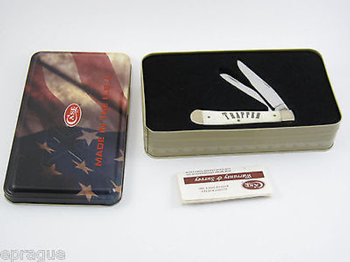2005 CASE XX 6254SS NATURAL SMOOTH BONE TRAPPER POCKET KNIFE WITH TIN