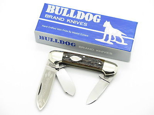 VINTAGE 1986 BULLDOG BRAND SOLINGEN TOBACCO CANOE FOLDING POCKET KNIFE BROWN BONE