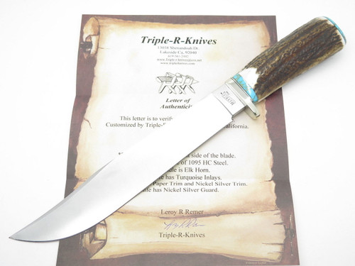CUSTOM RRR LEROY REMER MARBLES TRAILMAKER ELK STAG BOWIE KNIFE R1 PROTOTYPE